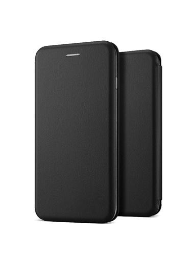 Microsonic Huawei Mate 20 Pro Kılıf Ultra Slim Leather Design Flip Cover Siyah Siyah